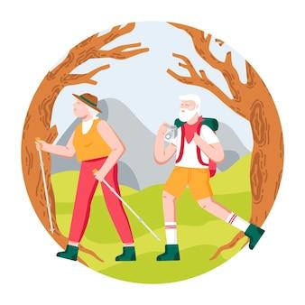 Illustration de personnes âgées actives