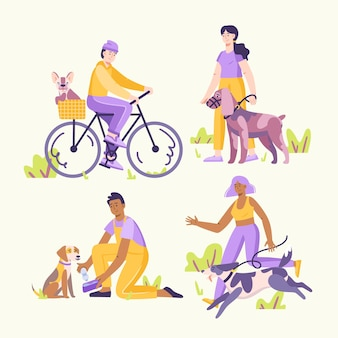 Illustration de personnes avec des animaux domestiques