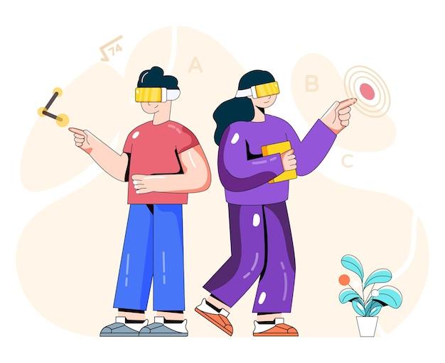 Illustration de personnes apprenantes vr avec des casques vr