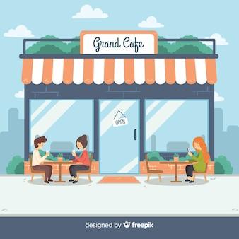 Illustration de personnes assises dans un café