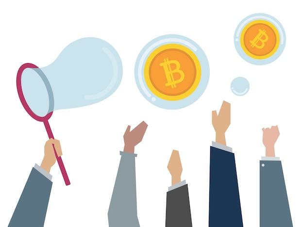 Illustration de personnes attrapant des bitcoins