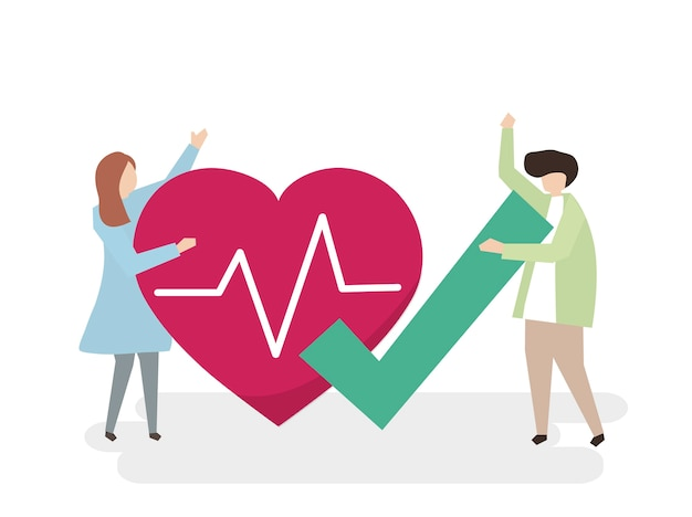Illustration de personnes ayant un cœur en bonne santé