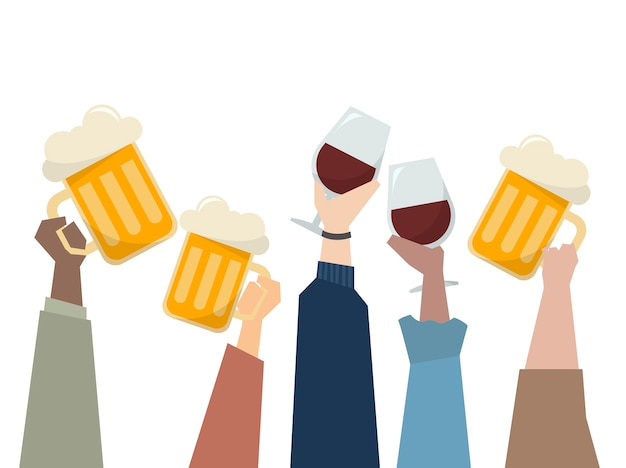 Illustration de personnes ayant une fête