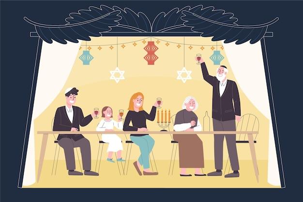 Illustration de personnes célébrant souccot