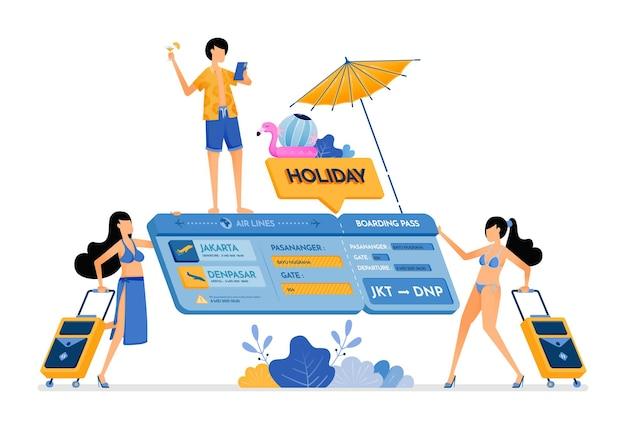 Illustration de personnes choisissent des billets d'avion pour des vacances