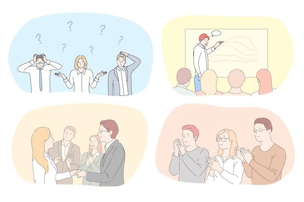 Illustration de personnes cooworking.
