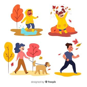 Illustration de personnes dans le parc en automne