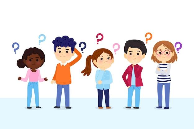 Illustration de personnes dessinées à la main posant des questions