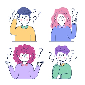 Illustration de personnes dessinées à la main posant des questions