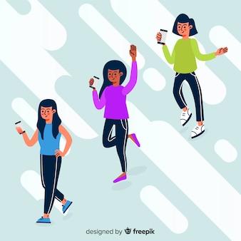 Illustration avec des personnes détenant des smartphones
