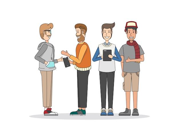 Illustration des personnes et du réseau social
