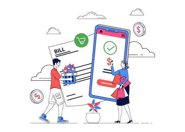 Illustration de personnes faisant des achats en ligne pour effectuer des paiements