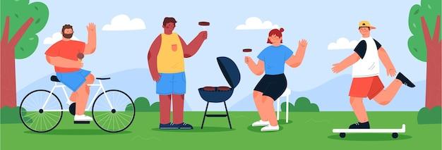 Illustration de personnes faisant des activités de plein air