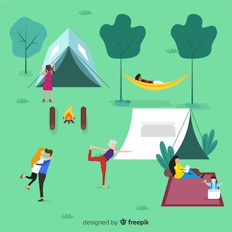 Illustration de personnes faisant du camping