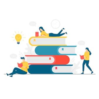 Illustration de personnes lisant un livre