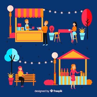 Illustration de personnes lors d'une foire nocturne