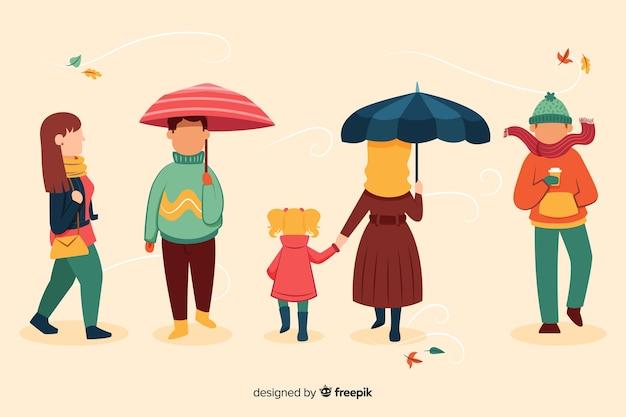 Illustration de personnes marchant en automne