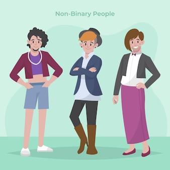 Illustration de personnes non binaires plat organique