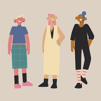 Illustration de personnes non binaires plates organiques