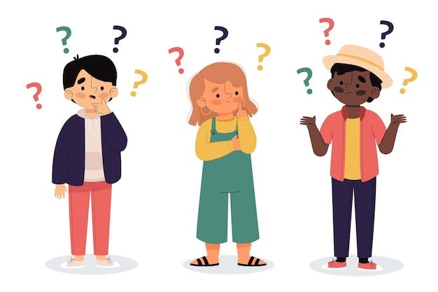 Illustration de personnes plates organiques posant des questions