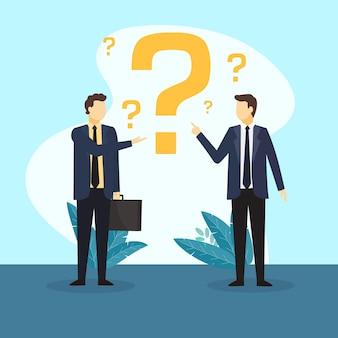 Illustration de personnes plates posant des questions