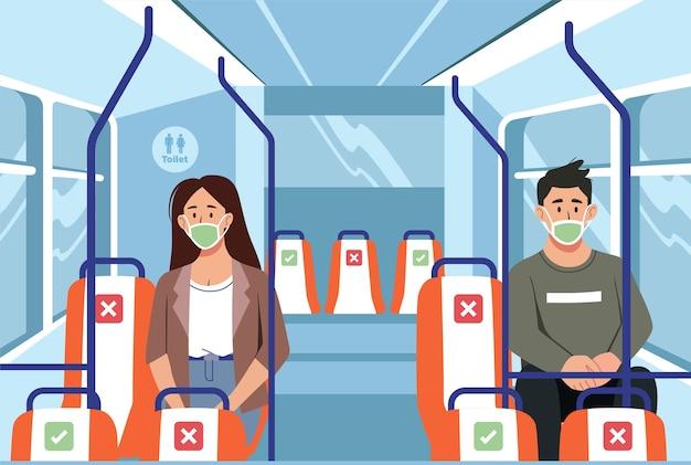 Illustration De Personnes Portant Un Masque Facial Et Gardant La Distance Sociale Dans Une Nouvelle Normalité Vecteur Premium