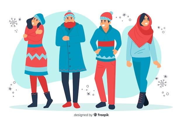 Illustration personnes portant des vêtements d'hiver