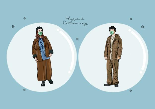 Illustration de personnes pratiquant la distance sociale ou la distance physique pendant une pandémie / épidémie de covid-19, le coronavirus change notre mode de vie
