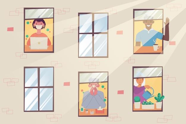 Illustration de personnes pratiquant la distanciation sociale