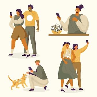 Illustration de personnes prenant des photos avec un smartphone