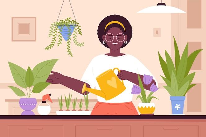 Illustration de personnes prenant soin des plantes