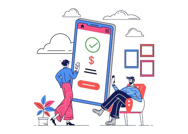 Illustration de personnes qui effectuent des paiements à domicile pour des achats en ligne
