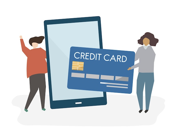 Illustration de personnes avec des services bancaires en ligne