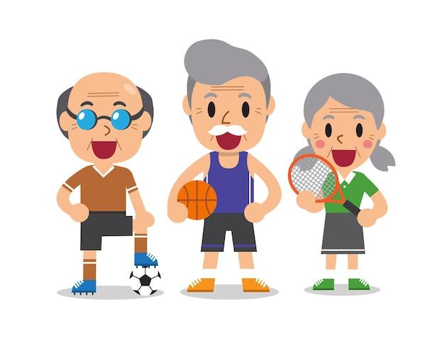 Illustration de personnes de sport senior de dessin animé