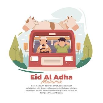 Illustration de personnes transportant des animaux sacrificiels à l'aide de camions