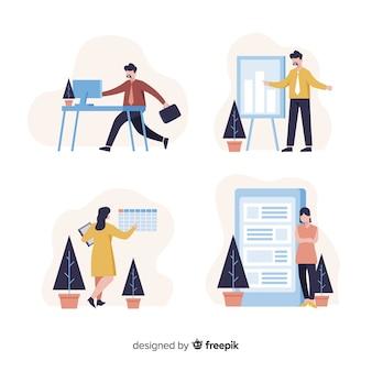 Illustration de personnes travaillant au bureau