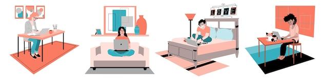 Illustration de personnes travaillant à distance