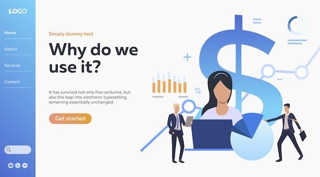 Illustration de personnes travaillant avec les finances et les statistiques