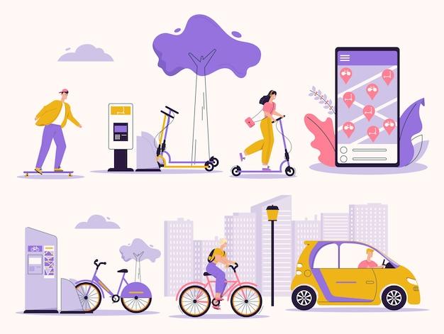 Illustration de personnes utilisant un service de location. skateboard, trottinette, vélo, voiture électrique. recherche, location application mobile de véhicule. infrastructure urbaine, mode de vie, éco transport vert