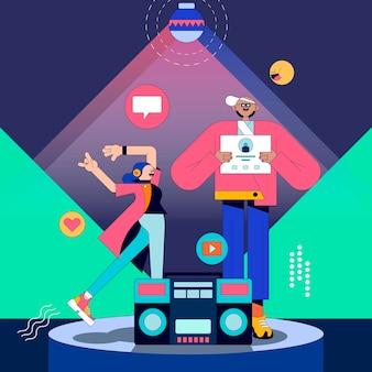 Illustration de personnes sur un vecteur de piste de danse