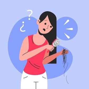Illustration de perte de cheveux dessinée à plat avec femme