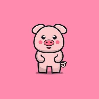 Illustration de petit cochon mignon