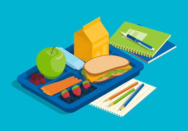 Illustration de petit-déjeuner scolaire isométrique