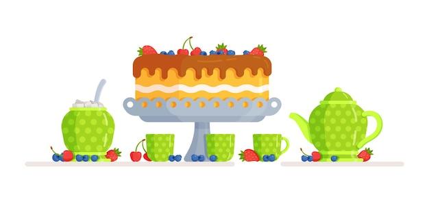Illustration d'un petit gâteau délicieux. service vert moucheté de blanc. boire du thé. célébrer un anniversaire ou tout autre jour férié.