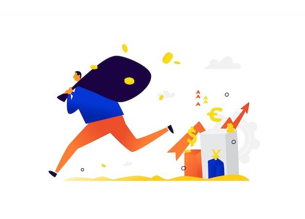 Illustration d'un petit homme s'enfuyant avec des revenus d'investisseurs.
