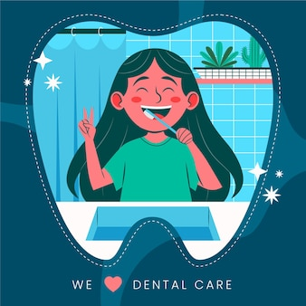 Illustration d'une petite fille prenant soin de son hygiène dentaire