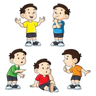 Illustration de petits garçons de dessin animé mignon dans diverses expressions et ensemble de gestes