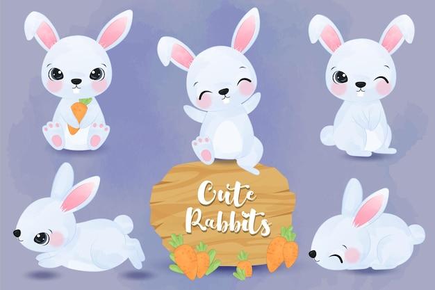 Illustration de petits lapins adorables mis à l'aquarelle