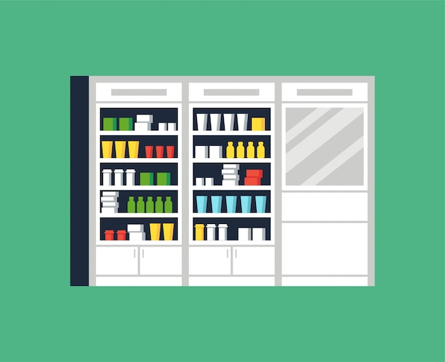 Illustration d'une pharmacie ou d'une pharmacie de design d'intérieur moderne. vitrine et étagères avec des médicaments, des pilules et des capsules.