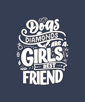 Illustration avec une phrase drôle. citation inspirante dessinée à la main sur les chiens.